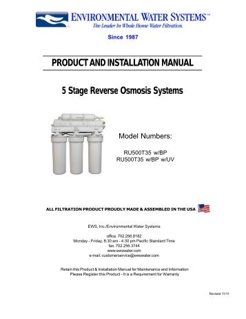 watts 5 stage reverse osmosis system manual