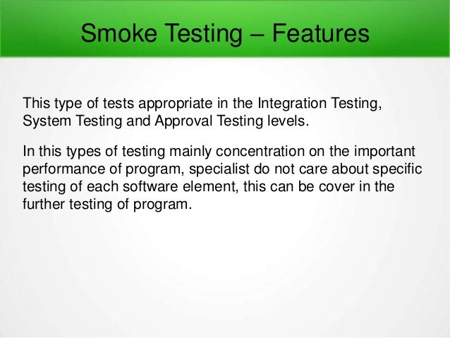 what is smoke testing in manual testing